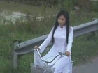 College girls on bycicle, Vietnam